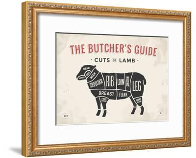 Cut of Meat Butcher Diagram - Lamb-foxysgraphic-Framed Art Print