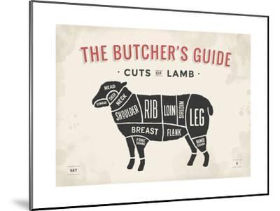 Cut of Meat Butcher Diagram - Lamb-foxysgraphic-Mounted Art Print