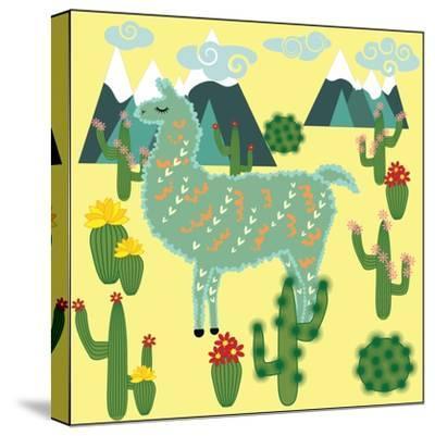 Cute Alpaca and Cactus-Michiru1313-Stretched Canvas Print