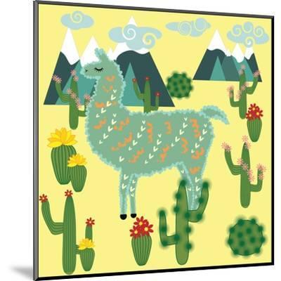 Cute Alpaca and Cactus-Michiru1313-Mounted Art Print