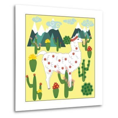 Cute Alpaca and Cactus-Michiru1313-Metal Print