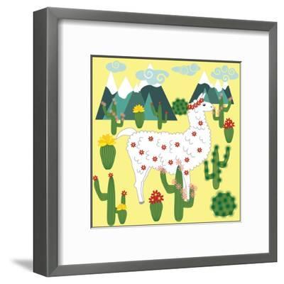 Cute Alpaca and Cactus-Michiru1313-Framed Art Print