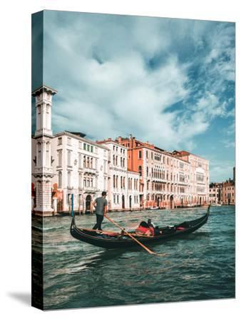 Venetian Gondolier Punts Gondola in Venice, Italy-World Image-Stretched Canvas Print