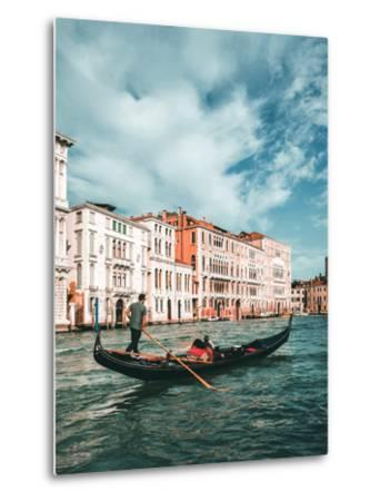 Venetian Gondolier Punts Gondola in Venice, Italy-World Image-Metal Print