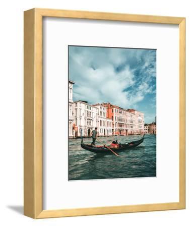 Venetian Gondolier Punts Gondola in Venice, Italy-World Image-Framed Premium Photographic Print