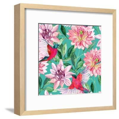 Watercolor Asters and Birds-tanycya-Framed Art Print