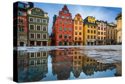 Colorful Houses in Stockholm's Gamla Stan Old Town District, Sweden-lbryan-Stretched Canvas Print