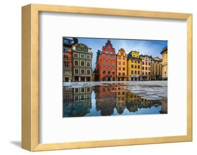 Colorful Houses in Stockholm's Gamla Stan Old Town District, Sweden-lbryan-Framed Premium Photographic Print