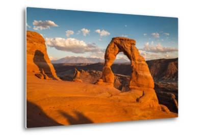 Classic View of Famous Delicate Arch at Sunset, Utah-lbryan-Metal Print