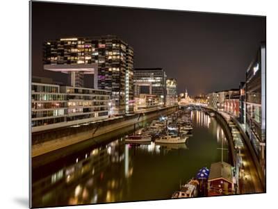 Cologne, Crane Houses in the Rheinauhafen, Dusk, Illuminated-Marc Gilsdorf-Mounted Photographic Print