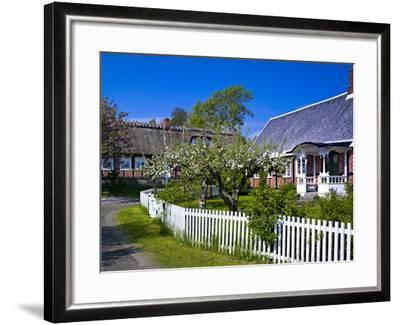 Sweden, Half-Timbered Houses in Brick, White Wooden Blossoming Fruit Trees, Spring-K. Schlierbach-Framed Photographic Print