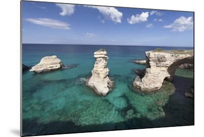 Rocky Coast with Stone Pillars, the Mediterranean Sea, Apulia, Italy-Markus Lange-Mounted Photographic Print