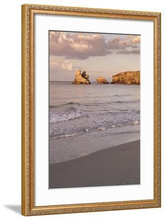 Rocky Coast with Stone Pillars, the Mediterranean Sea, Apulia, Italy-Markus Lange-Framed Photographic Print