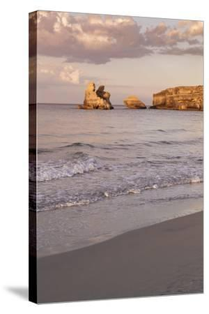 Rocky Coast with Stone Pillars, the Mediterranean Sea, Apulia, Italy-Markus Lange-Stretched Canvas Print