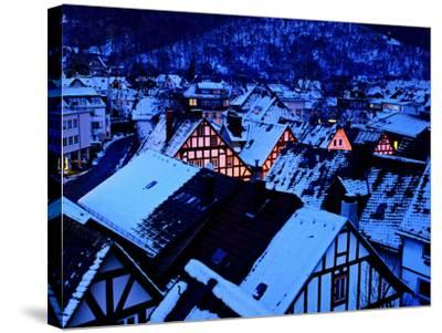 Germany, Dillenburg, Half-Timbered Gable of the Winter Evening, Snow-K. Schlierbach-Stretched Canvas Print