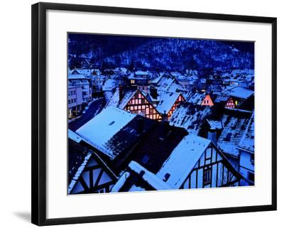 Germany, Dillenburg, Half-Timbered Gable of the Winter Evening, Snow-K. Schlierbach-Framed Photographic Print