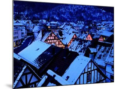 Germany, Dillenburg, Half-Timbered Gable of the Winter Evening, Snow-K. Schlierbach-Mounted Photographic Print