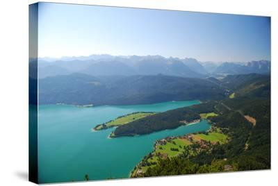 Germany, Bavaria, Alpine Upland, Walchensee, from Above, Summer-Peter Lehner-Stretched Canvas Print