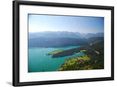 Germany, Bavaria, Alpine Upland, Walchensee, from Above, Summer-Peter Lehner-Framed Photographic Print