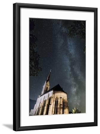 The Locherboden Church with the Milky Way in the Background-Niki Haselwanter-Framed Photographic Print