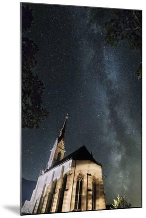 The Locherboden Church with the Milky Way in the Background-Niki Haselwanter-Mounted Photographic Print