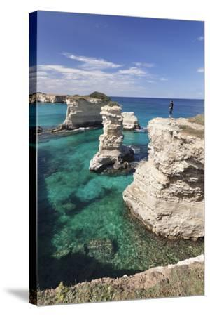 Rocky Coast with Stone Pillars, the Mediterranean Sea, Apulia, Italy-Markus Lange-Stretched Canvas Print