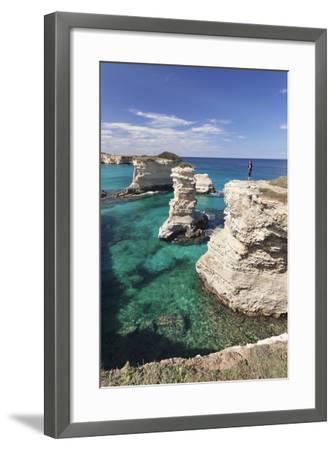 Rocky Coast with Stone Pillars, the Mediterranean Sea, Apulia, Italy-Markus Lange-Framed Photographic Print