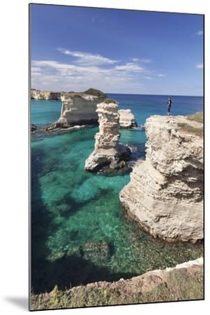 Rocky Coast with Stone Pillars, the Mediterranean Sea, Apulia, Italy-Markus Lange-Mounted Photographic Print