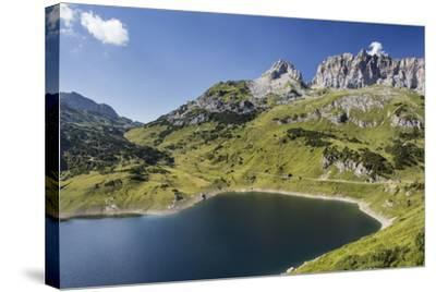 Formarinsee, Red Wall, Blue Heaven-Jurgen Ulmer-Stretched Canvas Print