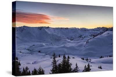 Sundown, Sunser Alp, Valley, Snow-Jurgen Ulmer-Stretched Canvas Print