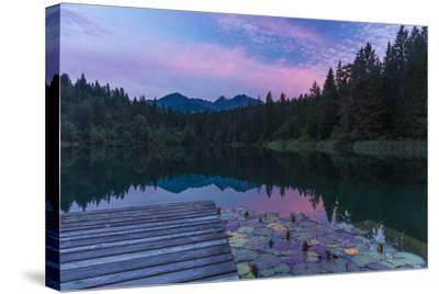 Evening Mood in the Crestasee at Flims-Armin Mathis-Stretched Canvas Print