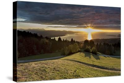Sundown over Lake of Constance-Jurgen Ulmer-Stretched Canvas Print