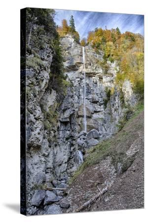 Waterfall in the Autumnal Wood-Jurgen Ulmer-Stretched Canvas Print