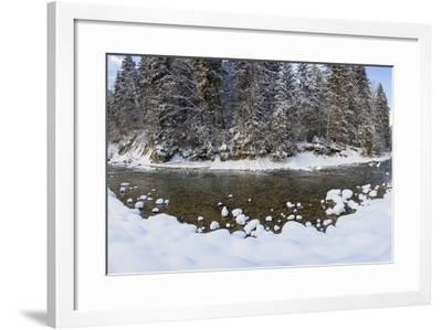 The Ammer in Winter with Ice and Snow-Wolfgang Filser-Framed Photographic Print