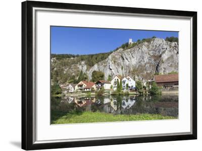 Essing with Castle Randeck Is Reflected at the Altmuehl, Nature Reserve Altmuehl Valley, Germany-Markus Lange-Framed Photographic Print