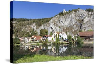 Essing with Castle Randeck Is Reflected at the Altmuehl, Nature Reserve Altmuehl Valley, Germany-Markus Lange-Stretched Canvas Print