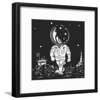 Illustration of an Astronaut Going on A Planet-JoeBakal-Framed Art Print