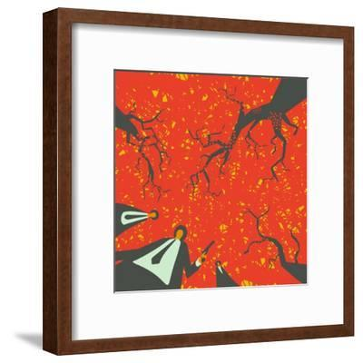 People with Gun in the Autumn Forest Solve their Problems-JoeBakal-Framed Art Print