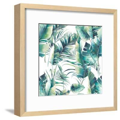 Summer Palm Tree and Banana Leaves-Eisfrei-Framed Art Print