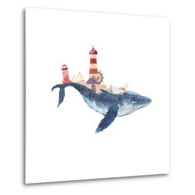Watercolor Fantasy Blue Sea Whale with Lighthouse-Eisfrei-Metal Print