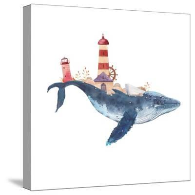 Watercolor Fantasy Blue Sea Whale with Lighthouse-Eisfrei-Stretched Canvas Print