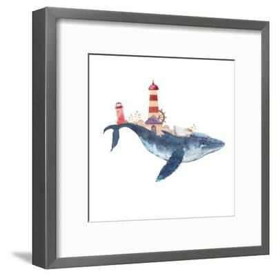Watercolor Fantasy Blue Sea Whale with Lighthouse-Eisfrei-Framed Art Print
