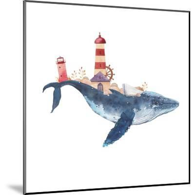 Watercolor Fantasy Blue Sea Whale with Lighthouse-Eisfrei-Mounted Art Print