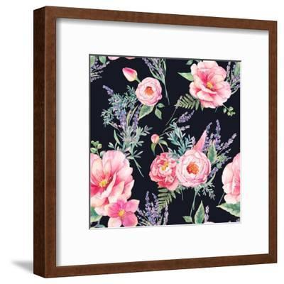 Watercolor Lavender and Garden Flowers-Eisfrei-Framed Art Print