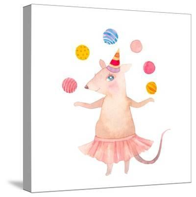 Watercolor Juggler Mouse with Party Hat-Eisfrei-Stretched Canvas Print
