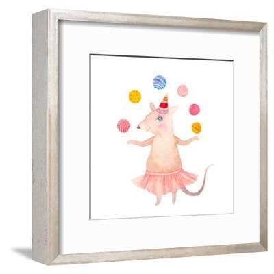 Watercolor Juggler Mouse with Party Hat-Eisfrei-Framed Art Print