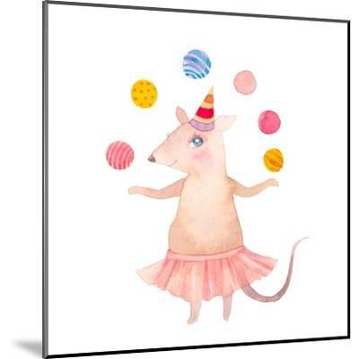 Watercolor Juggler Mouse with Party Hat-Eisfrei-Mounted Art Print