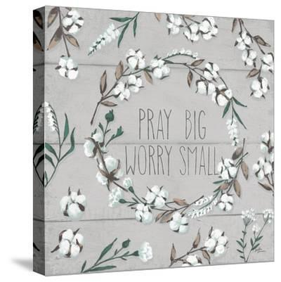 Blessed VI Gray Pray Big Worry Small-Janelle Penner-Stretched Canvas Print