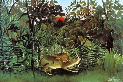 The Hungry Lion-Henri Rousseau-Framed Art Print