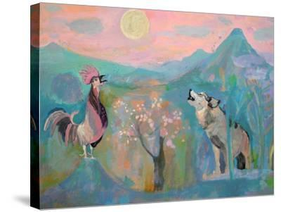 The Wolf and the Rooster Sing by Moonlight-Iria Fernandez Alvarez-Stretched Canvas Print